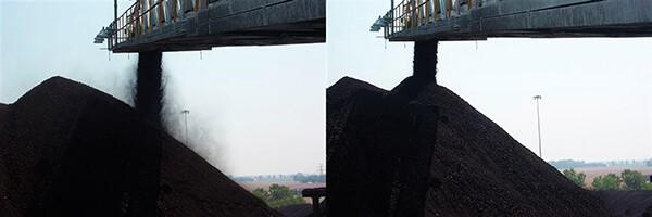 Перегрузка угля с системой пылеподавления
