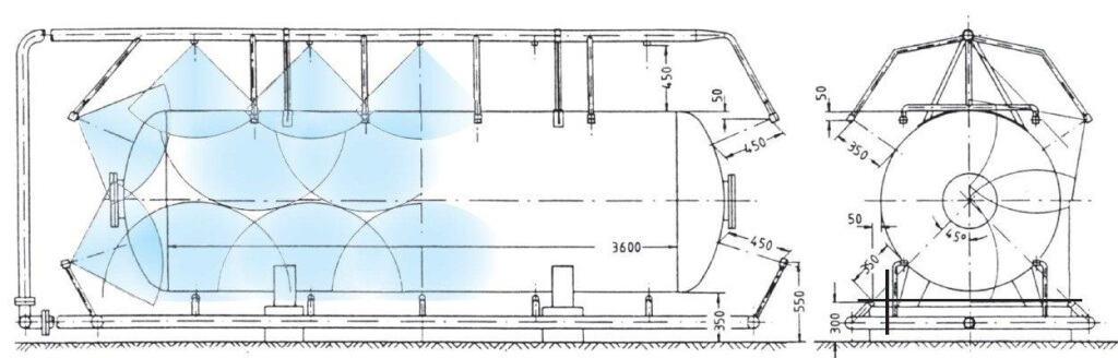 Эффективное расположение труб и форсунок противопожарной распылительной системы резервуара
