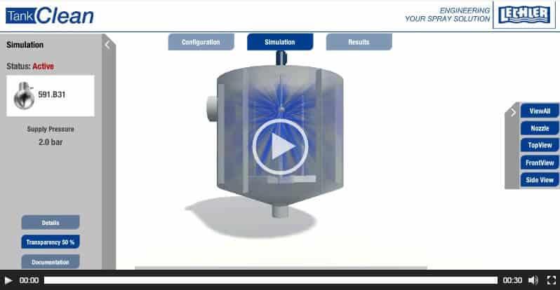 Программа симуляции мойки емкости TankClean