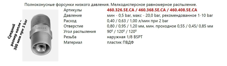 Характеристики форсунок 460 серии из пластика для санпропускников