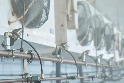 Пневматическое распыление в сочетании с воздушным охлаждение очень эффективно