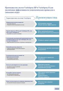 Преимущества систем VarioSpray HP и VarioSpray II для увеличения эффективности технологических процессов и снижения затрат