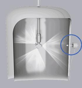 Установка датчика контроля вращения моющей головки