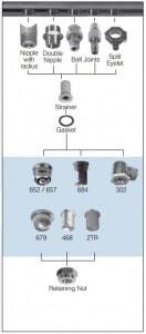 Акссесуары для монтажа форсунок с внутренней резьбой или форсунок под накидную гайку.