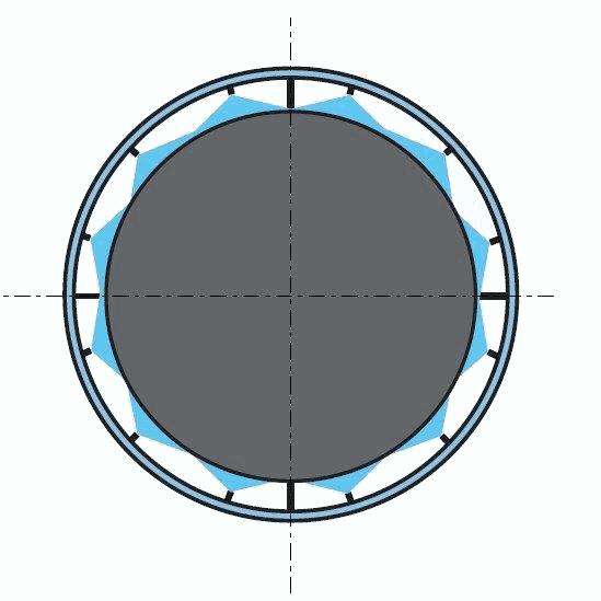 Схема расстановки форсунок в круглом трубопроводе